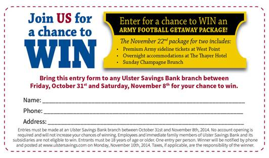 Ulster Savings Chance to Win Army Footbal Getaway Package, 11/8/14