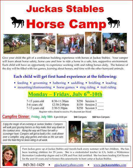 July 6-10 - Juckas Stables Horse Camp